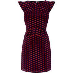 OASIS Lip print Peplum Dress ($87) ❤ liked on Polyvore