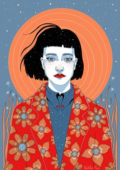 Asteria by Natalie Foss Portrait Illustration, Graphic Illustration, Graphic Art, Posca Art, Portrait Art, Vector Portrait, Arte Pop, Aesthetic Art, Cartoon Art