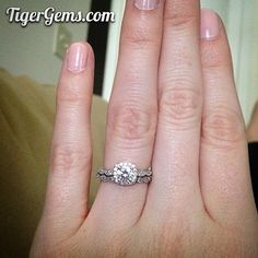 """I lost my engagement ring and ordered this one as a temporary replacement. It is BEAUTIFUL! The band in the photo is my real diamond wedding band, and you can barely tell the difference between the two. Tabitha is also wonderful to work with! Very pleased!"" 💓✨💗 Thank you so much to my client for this photo of her 3/4 carat Art Deco halo ring. ✨Shop now at www.TigerGems.com.✨"