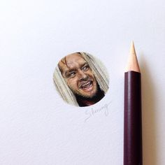 The Shining - Stephen King - Jack Nicholson - Jack Torrance. Miniature Tiny Drawings. By Claudia Maccechini.