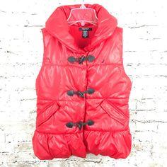 NAUTICA Girls 12 Red Puffer Vest Toggle Button Pockets Sleeveless Fleece Lined #NAUTICA #Vest #Everyday