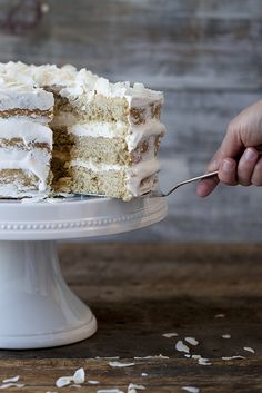 This deliciously dairy-free cake is moist and light with a delicate coconut flavor throughout.