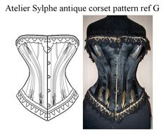 Antique corset pattern for sale from Atelier Sylphe Corsets workshop. Pattern drafted from real antique corset.