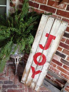JOY reclaimed wood holiday sign