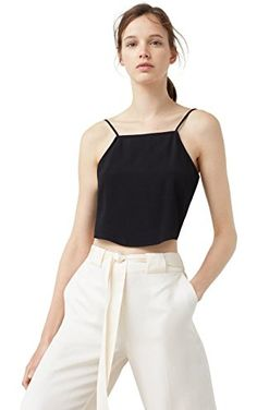 Mango Women's Crop Top, Black, Xxs ❤ ...