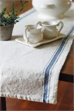 """Feed Sack Style Table Runner with Blue Stripes 
