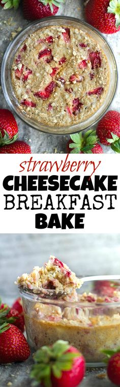 Strawberry Cheesecake Breakfast Bake - loaded with the delicious sweet and tangy flavour of a cheesecake, while boasting the awesome nutritional value of a baked oats. It's like having dessert for breakfast! | runningwithspoons.com #recipe #glutenfree #vegan