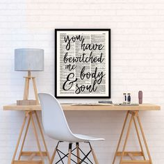 Pride and Prejudice Quote, Jane Austen, You have bewitched me, Wall Art Print for Book Lovers by demeraki on Etsy