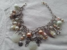 Glorious Romantic Bracelet with Peach Pink by Objectsandoddities, $38.00