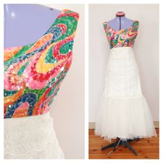 Vintage Wedding Dress with Colorful Sequin by TheLoveBucketSA, $199.00