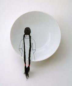 Embroidery on ceramics by Diem Chau