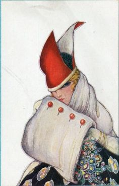 Adolfo-Busi-postcard-of-Woman-muff-and-Red-Hat