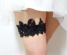 Black Sequin Wedding Garter Bridal Prom 1500 Via Etsy