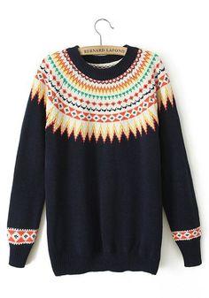 Navy Blue Patchwork Print Round Neck Straight Barrel Wool Blend Sweater