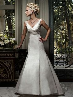 Empire V-neck Satin Sweep Train Embroidery Wedding Dresses -£157.79