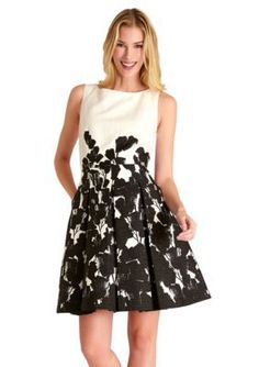 Tahari ASL  Sleeveless Floral Jacquard Fit and Flare Dress