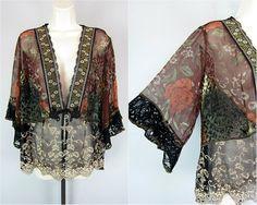 Spencer Alexis Silk Velvet Burnout Sheer Lace Lagenlook Kimono Gypsy Jacket Sz L   eBay