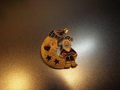 Christmas pin BROOCH Santa Santa moon NEWPRO. Gold tone metal sparkling enameled parts sparkling rhinestone  .Collectible Christmas pin by NewLifeToRetro on Etsy
