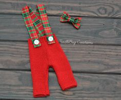 Newborn Photography Set- Upcycled Christmas Red Pants With Red And Green Plaid Suspenders & Red and Green Plaid Bow tie - Ready to ship by ToodleBugCreations, $26.50