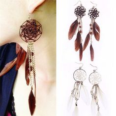 Bronze Plated Two Colors Feather Earrings Long //Price: $7.62 & FREE Shipping //     #christmasearrings