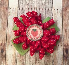 Strawberry red and white polka dot korker bow grosgrain pinwheel green ribbon summer birthday photo shoot sparkling bottle cap by CreationsbySAHM on Etsy https://www.etsy.com/listing/235117731/strawberry-red-and-white-polka-dot