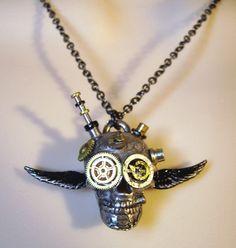 ☠ Steampunk Angel Demon Skull Necklace ~ Hearse Boutique ☠