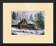 """""""WinterOnYubaRiver"""" by Joanne Mannell, Garden Valley // The house was built in the 1800's during the gold rush and sits next to the Yuba River in Washington, CA.  The watercolor painting is a bit of California history and a pleasure to have hanging in your home. // Imagekind.com -- Buy stunning fine art prints, framed prints and canvas prints directly from independent working artists and photographers."""