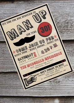 Time to man-up? Hosting a mustache bash? Guys 30th or 40th birthday by NeverStopCelebrating.