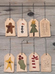Holiday Tags 2019 Wool felt tags The post Holiday Tags 2019 appeared first on Wool Diy. Christmas Projects, Felt Crafts, Holiday Crafts, Felt Projects, Prim Christmas, Christmas Gift Tags, Christmas Ornaments, Felted Wool Crafts, Penny Rugs