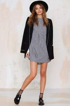 Nasty Gal To the Queen Pinstripe Shirt Dress - Shift | Day | Dresses