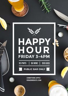 Happy Hour poster template. Our professionally designed templates can be updated in your browser - no design software or experience required! Start free trial of 'Plus' for 30 days - easil.com #hospitality #bar #templates #promotions #beer