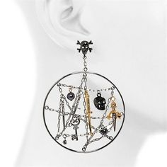 Pirate Dream Catchers  Pirate Dream Catchers Earrings  Noir for Pirates of the Caribbean Collection presents these great hoop earrings. Earrings are solid brass plated in Gold, Rhodium and Gunmetal. Disney©  $175.00