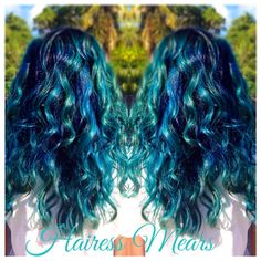 Turquoise, blue, raspberry blue and sea foam color melt!  Blue hair.  IG/FB Hairess Mears