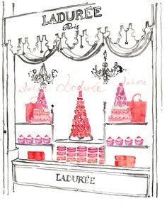 kerrie hess, fashion illustration, Laduree, Paris