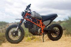 A KTM 690 Duke given the retro scrambler treatment by Droog Moto Concepts.                                                                                                                                                                                 More