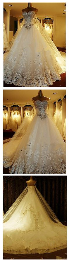 Elegant & luxurious sparkling wedding gown with cathedral train <3 Get this beauty for $299.99 by clicking on the picture.