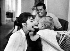 """Audrey Hepburn and her son, Sean, entertaining James Garner with their silly antics, 1961 ~ Photograph by Bob Willoughby. Audrey and James became friends on the set of """"The Children's Hour"""". Classic Hollywood, Old Hollywood, Photo Star, Gene Kelly, British Actresses, Dita Von Teese, Brigitte Bardot, Belle Photo, Role Models"""