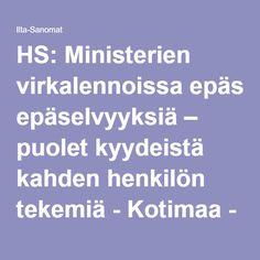 HS: Ministerien virkalennoissa epäselvyyksiä – puolet kyydeistä kahden henkilön tekemiä - Kotimaa - Ilta-Sanomat