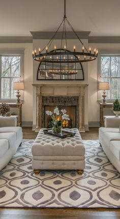 Mesmerizing blend of traditional and modern in Nashville - Tudor style inspired dwelling with reclaimed barn wood in Nashville - Restoration Hardware Dining Table, Restoration Hardware Bedroom, Restoration Hardware Lighting, Chandelier In Living Room, Living Room Decor, Style At Home, Tudor Decor, Restauration Hardware, Estilo Tudor