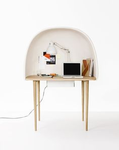 The desk 'Rewrite' by designer Gam Fratesi began as a study of the desktop and especially an atmosphere and feeling that is needed even in the middle of an accelerating communication and technology. Rewrite is thought of as a kind of isolating workingbubble, that can work as a satellitedesk anywhere one can feel the need of concentration and shielding – in open space offices, public spaces or at home.