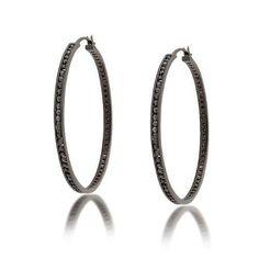 Bling Jewelry Channel Set Black CZ Eternity Black Sterling Silver Hoop Earrings