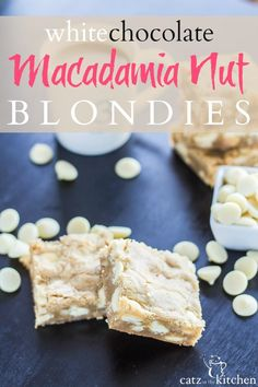 This recipe for White Chocolate Macadamia Nut Blondies is a simply wonderful treat for Valentine's Day. Share them with someone you love. Layered Desserts, Great Desserts, Delicious Desserts, Dessert Recipes, Yummy Food, Easter Recipes, Holiday Desserts, Holiday Baking, Christmas Baking