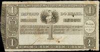 ANVERSO - UNIFACE; Valor facial: 1000 réis; Autorização: Decreto de 1º de Junho de 1833; Ano de emissão: 1835; Órgão emissor: Tesouro Nacional; Empresa impressora: Perkins, Bacon & Petch.