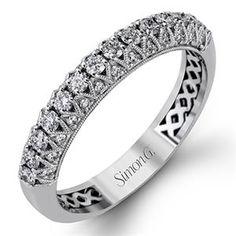 Shop online SIMON G MR2244B Diamond Pave Set 18K - White Gold Womens Wedding bands  at Arthur's Jewelers. Free Shipping