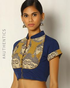 Buy Indie Picks Navy Blue Handblock Print Kalamkari Cotton Blouse online in India at best price. Reviving the rich history of early modern arts with a traditional kalamkari Art Deco print, this col Kalamkari Blouse Designs, Sari Blouse Designs, Fancy Blouse Designs, Kurta Designs, Blouse Styles, Blouse Patterns, Choli Designs, Dress Designs, Blouse Back Neck Designs