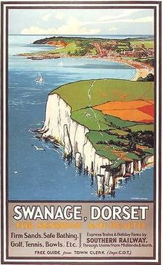 Southern Railways Swanage Dorset by VintagePosterShopUK Posters Uk, Train Posters, Railway Posters, Illustrations And Posters, Retro Posters, British Travel, British Seaside, Travel Uk, Art Deco Print