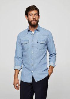 Camisa slim-fit denim - Camisas de Hombre | MANGO Man España