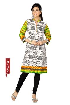 Beautiful black and white cotton ladies kurthi with contrast colored  sleeves and collar, will look great and stylish in this summer.