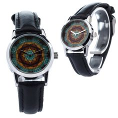 Items similar to ZIZ Kaleidoscope Small Face Watch With Leather Band/ Unisex Watch, Quartz Analog Wrist Watch on Etsy Small Faces, Quartz, Etsy, Unisex, Wristwatches, Trending Outfits, Bling Bling, Unique Jewelry, Handmade Gifts