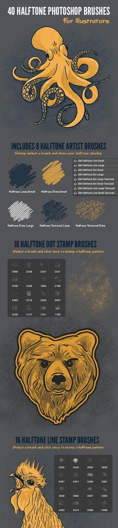 40 Halftone Illustration Brushes for Photoshop - Texture Brushes: